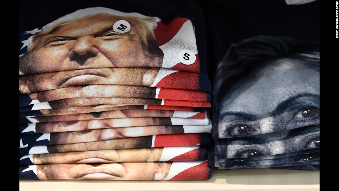 T-shirts carrying the likenesses of Donald Trump and Hillary Clinton are seen at Philadelphia International Airport on Thursday, October 20.