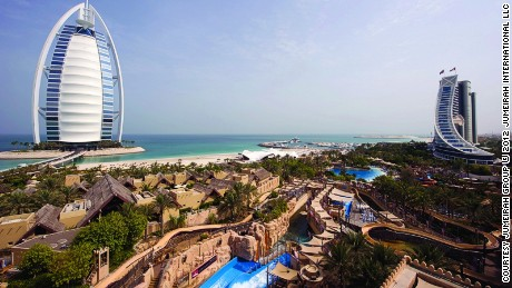 The view of Wild Wadi from Jumeirah Beach Hotel.