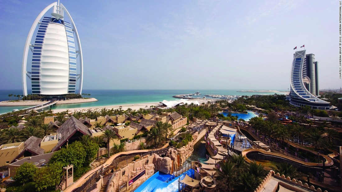 Located right beside the sail-shaped Burj Al Arab Jumeirah and the wave-shaped Jumeirah Beach Hotel, the family-friendly waterpark Wild Wadi has an Arabian folklore theme.