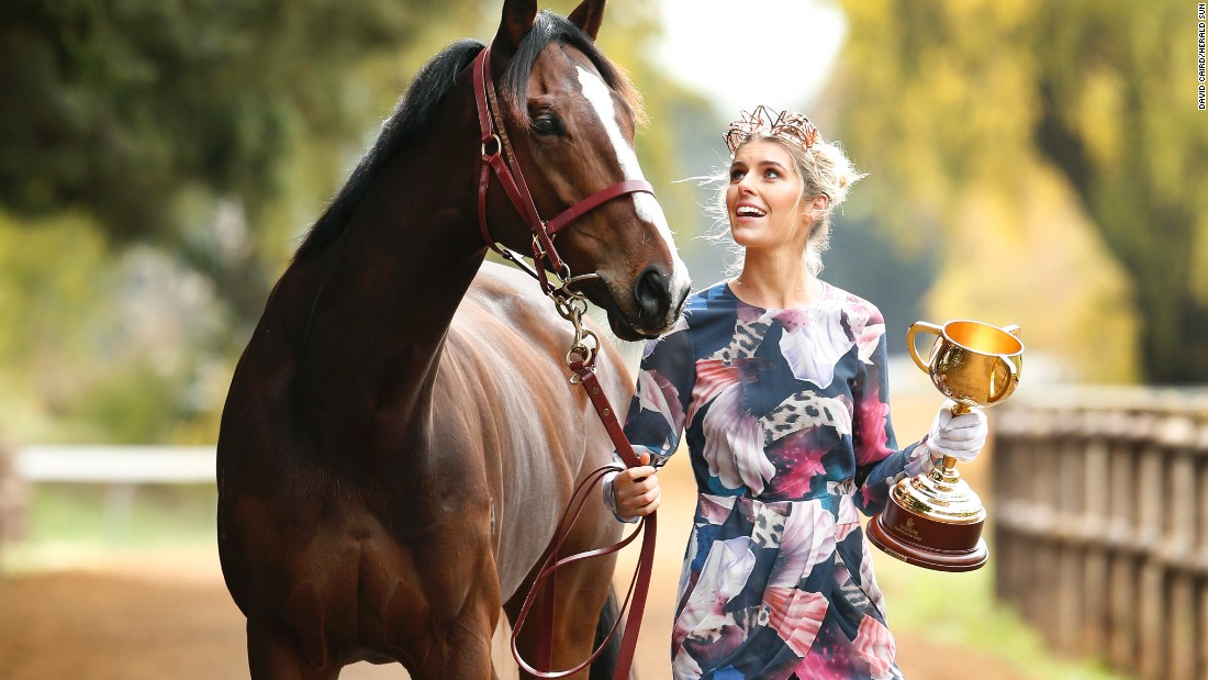 The 2015 Emirates Melbourne Cup winner Prince of Penzance, accompanied by Flemington Ambassador Georgia Connolly in Ballarat, Victoria.