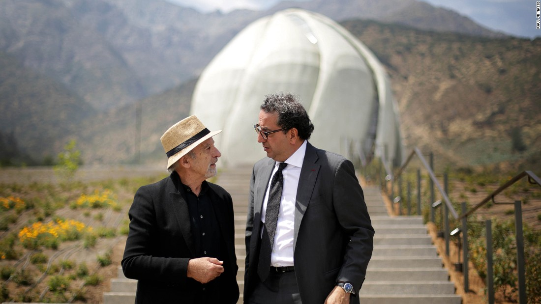The central belief of the Bahá'í Faith is to embody the unity of mankind. Pictured here at the temple is architect Siamak Hariri, who is a Bahá'í himself, and landscape architect, Juan Grimm.