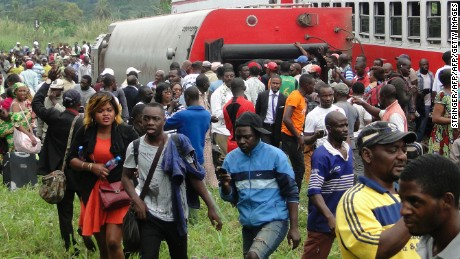 Dozens of people were killed and hundreds injured when a packed Cameroon passenger train derailed.