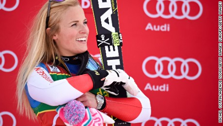 SOELDEN, AUSTRIA - OCTOBER 22: Lara Gut of Switzerland takes 1st place during the Audi FIS Alpine Ski World Cup Women's Giant Slalom on October 22, 2016 in Soelden, Austria (Photo by Michel Cottin/Agence Zoom/Getty Images)