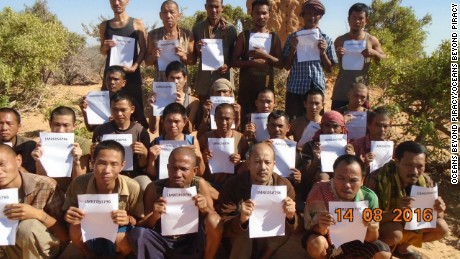 These 26 members of a fishing vessel -- most of them from Southeast Asia -- were hijacked in March 2012.