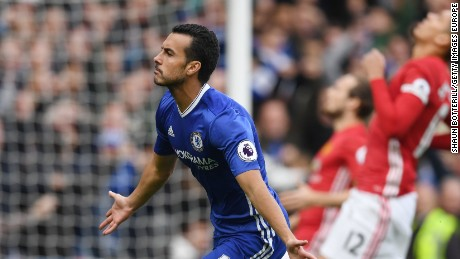 Pedro celebrates scoring his quick fire opener for Chelsea against Manchester United at Stamford Bridge.