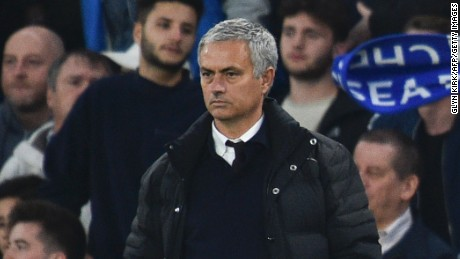 A miserable Jose Mourinho watches on as his side slipped to a 4-0 defeat to his former club Chelsea at Stamford Bridge.