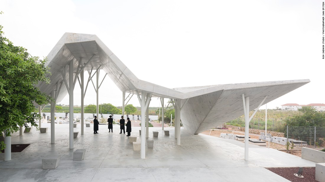 This geometric structure, designed by Ron Shenkin Studio for Architecture and Design, is located in Pardesia, Israel. It was built as a place for mourners to converge, read eulogies and share memories prior to burial at the the neighboring cemetery.
