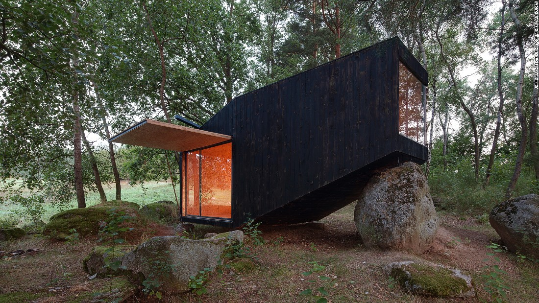 Uhlik Architekti designed this hideaway in the forests of Central Bohemia, in the Czech Republic. The client requested a place to escape a demanding job in Prague that would have a limited impact on the environment.