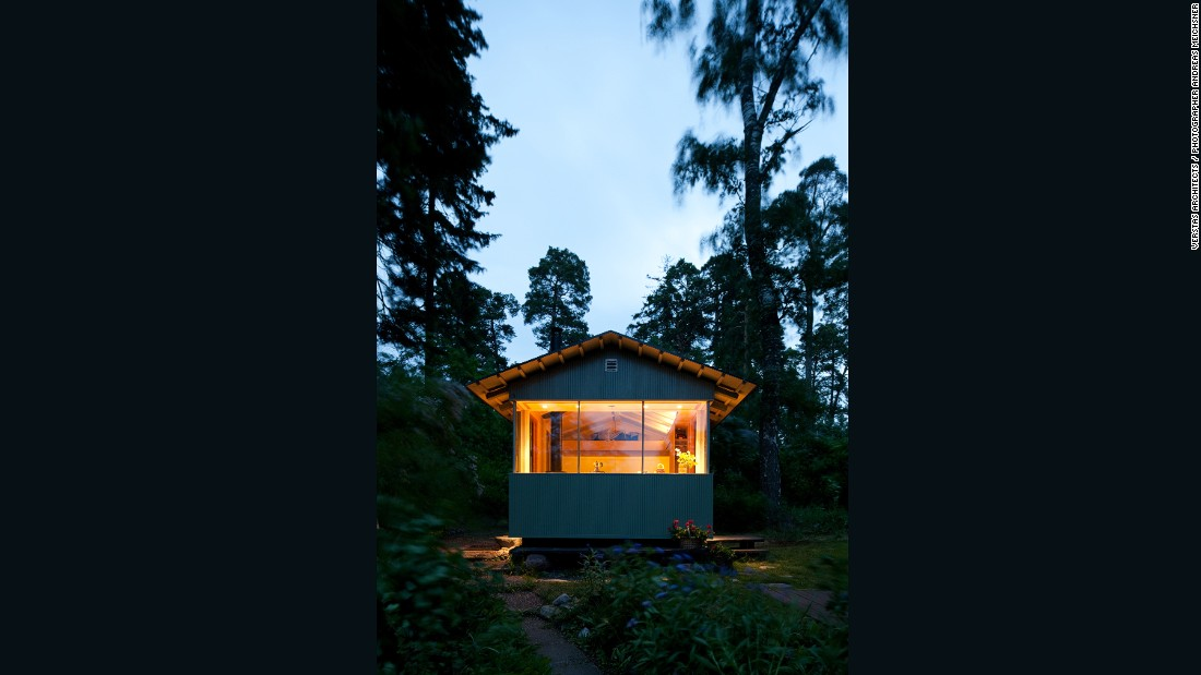 City Cottage by Verstas Architects might look like it's in the middle of nowhere, but it's just outside Helsinki on Lauttasaari Island. The 150-square-foot cottage is an eco-friendly getaway for a family of four, using solar energy and with easy access to the sea.