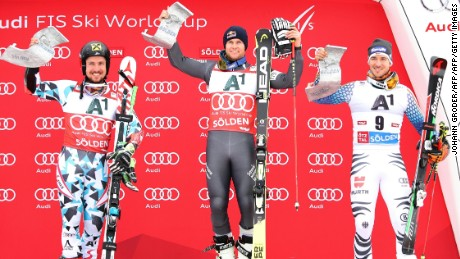 From left to right, Marcel Hirscher, Alexis Pinturault and Felix Neureuther. The trio made up the podium in the first race of the 2016 Alpine Skiing World Cup.