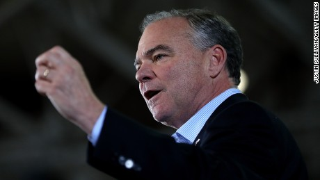 Democratic vice presidential nominee U.S. Sen Tim Kaine (D-VA) speaks during a campaign rally with democratic preisdential nominee former Secretary of State Hillary Clinton at Taylor Allderdice High School on October 22, 2016 in Pittsburgh, Pennsylvania.