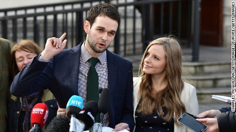 Daniel McArthur, managing director of Ashers Bakery, and his wife Amy McArthur held a press conference outside Belfast high court alongside family members after losing their appeal in the so called 'Gay Cake' case on October 24, 2016 in Belfast, Northern Ireland.