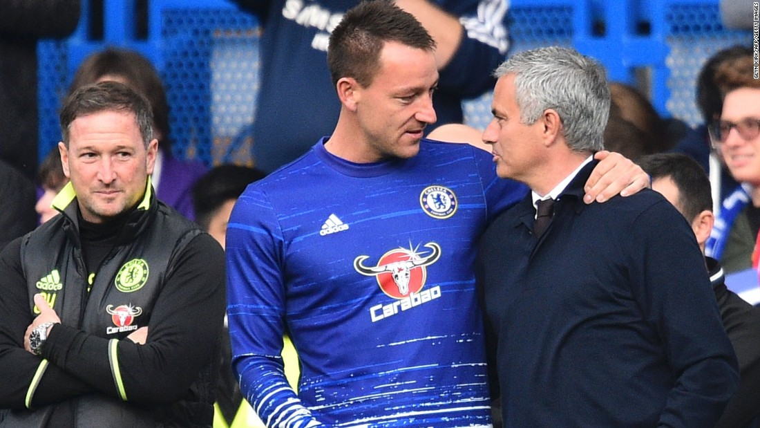 Mourinho spent two spells with Chelsea, winning three Premier League titles, three League Cups and one FA Cup. But he was sacked by the club in December last year after a disastrous start to the defense of its crown left it hovering above the relegation zone. Before Sunday's game, he was reunited with John Terry, his former captain at Chelsea.