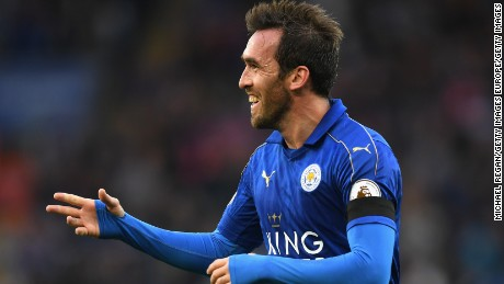 LEICESTER, ENGLAND - OCTOBER 22: Christian Fuchs of Leicester City celebrates scoring his sides third goal  during the Premier League match between Leicester City and Crystal Palace at The King Power Stadium on October 22, 2016 in Leicester, England.  (Photo by Michael Regan/Getty Images)