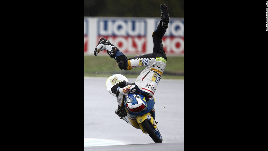 Lorenzo Petrarca crashes during a Moto3 practice on Australia's Phillip Island on Friday, October 21. He was not seriously hurt.