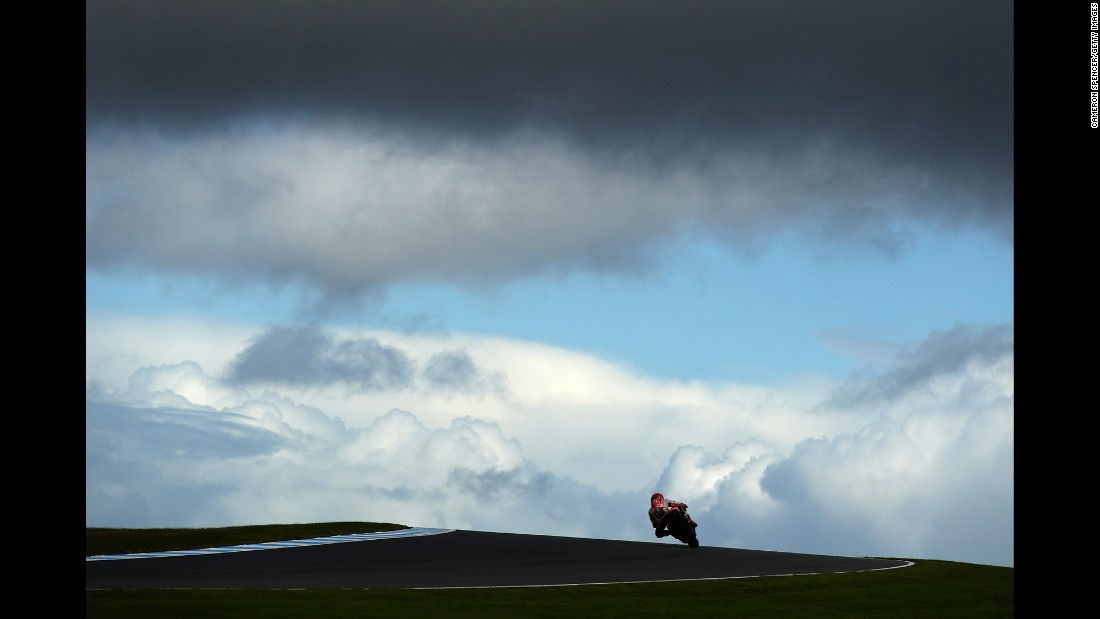 "Marc Marquez practices Saturday, October 22, before the MotoGP race on Phillip Island, Australia. The Spaniard <a href=""http://www.cnn.com/2016/10/16/motorsport/motorsport-marquez-motogp-world-champion/index.html"" target=""_blank"">clinched his third world title</a> earlier this month."