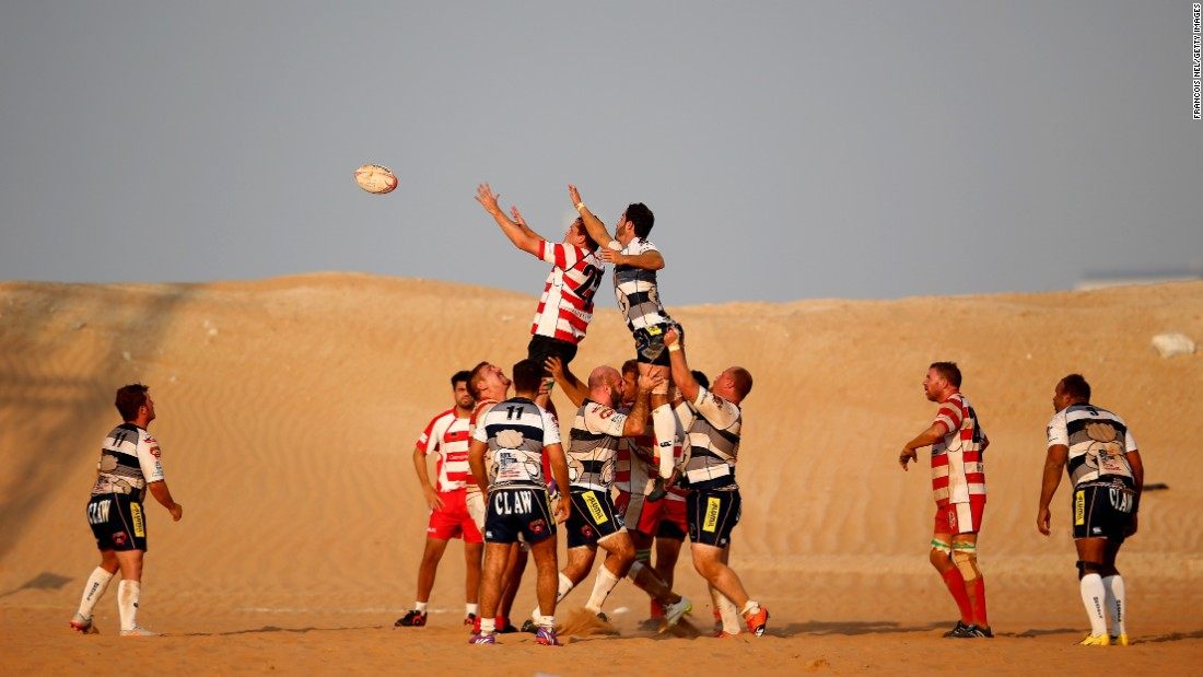 Kevin Lamb wins a lineout ball during a Community League match between the RAK Goats and the Beaver Nomads, which was played Friday, October 21, in Ras al-Khaimah, United Arab Emirates.