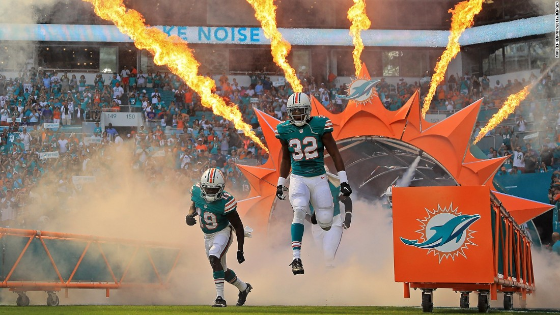 The Miami Dolphins take the field for a home game against Buffalo on Sunday, October 23.