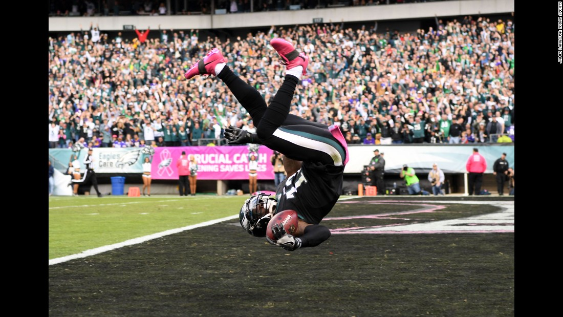 Philadelphia's Josh Huff flips over after he returned a kickoff for a touchdown on Sunday, October 23. The Eagles defeated Minnesota -- the NFL's last unbeaten team -- 21-10.
