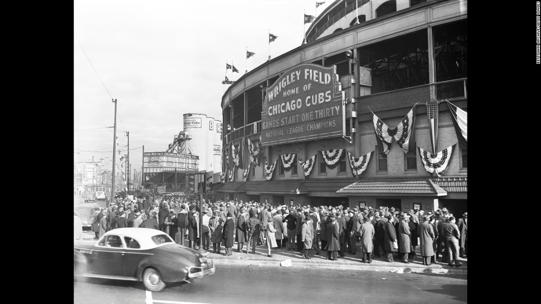 Fans wait outside Wrigley Field for the decisive game seven of the 1945 World Series on October 10. The attendance inside the stadium was 41,590.
