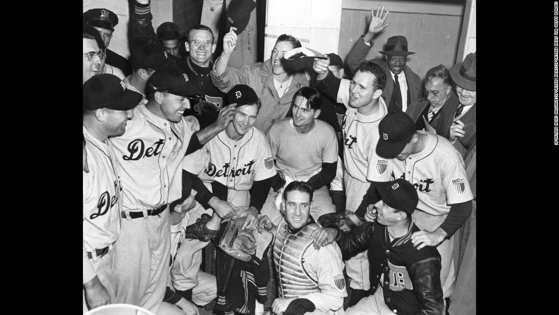 The Detroit Tigers celebrate after defeating the Chicago Cubs in game seven of the 1945 World Series.