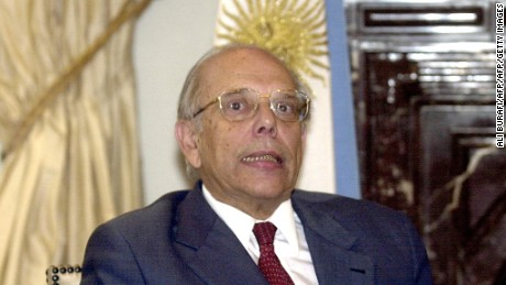 BUENOS AIRES, ARGENTINA:  Uruguayan President Jorge Batlle speaks during a joint press conference with Argentinian President Eduardo Duhalde in the presidential residence in Buenos Aires, 04 June, 2002. Argentina's economic woes apparently were blamed by President Batlle on the Argentines themselves, according to transcripts of an interview broadcast 03 June by the US Bloomberg television channel.  AFP PHOTO/ALI BURAFI (Photo credit should read ALI BURAFI/AFP/Getty Images)