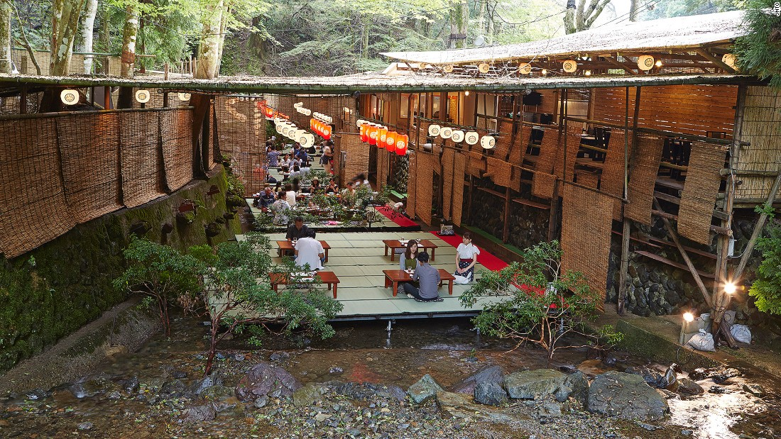 "Every year, from May to September, ""kawadoko"" restaurants in the village of Kibune give diners a chance to enjoy their meals outdoors while sitting on tatami mats over the river. Kibune is about 12 kilometers from central Kyoto."