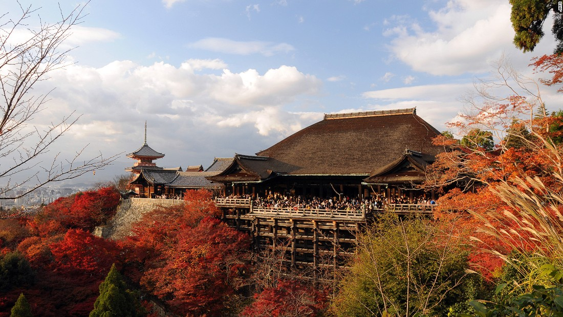 "Another UNESCO site, this Buddhist temple is located in eastern Kyoto. For worshippers, Kiyomizu-dera -- which translates to ""Pure Water Temple"" -- is the home of the Goddess of Mercy."