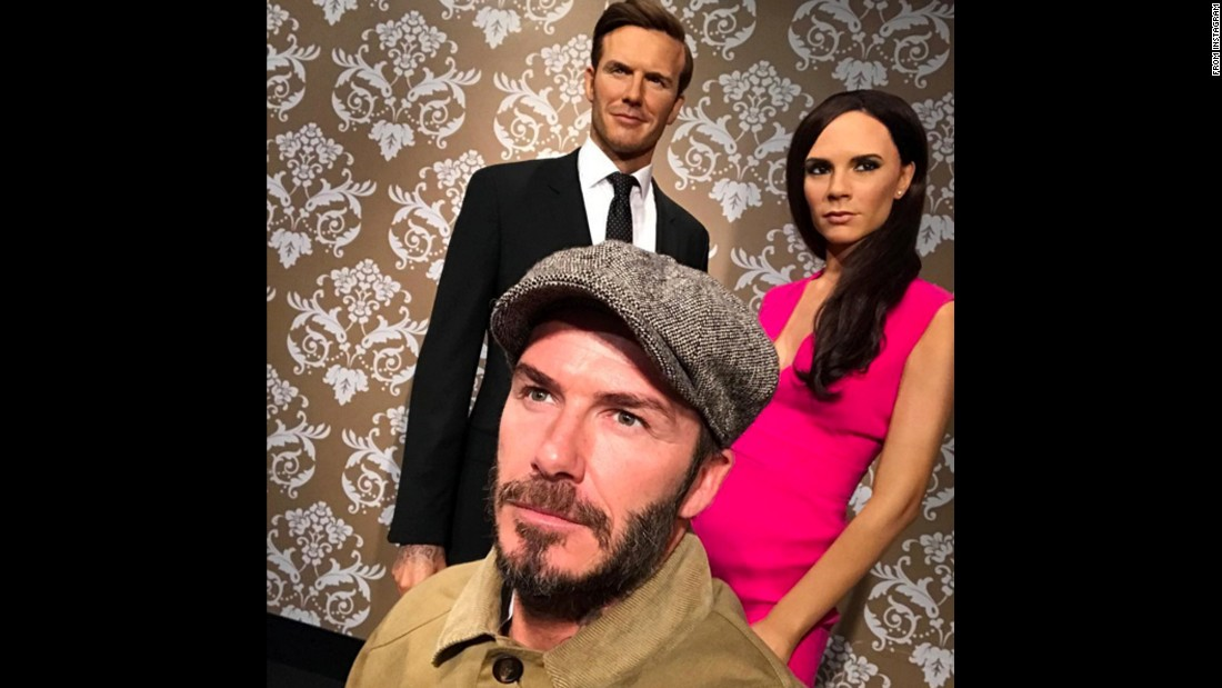 "Former soccer star David Beckham takes a selfie in front of a wax figure of himself and his wife, Victoria, on Saturday, October 8. ""Thank you to Nicole and everyone at Madame Tussauds for letting me meet this lovely couple,"" <a href=""https://www.instagram.com/p/BLTFpSoh0yb/"" target=""_blank"">Beckham said on Instagram.</a>"