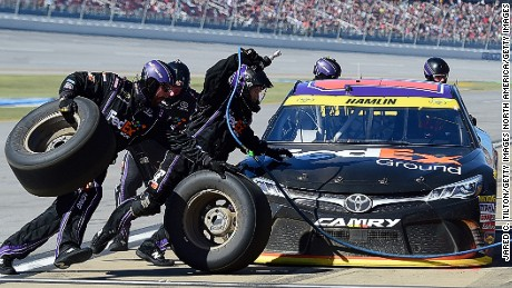 TALLADEGA, AL - OCTOBER 23:  Denny Hamlin, driver of the #11 FedEx Ground Toyota, pits during the NASCAR Sprint Cup Series Hellmann's 500 at Talladega Superspeedway on October 23, 2016 in Talladega, Alabama.  (Photo by Jared C. Tilton/Getty Images)