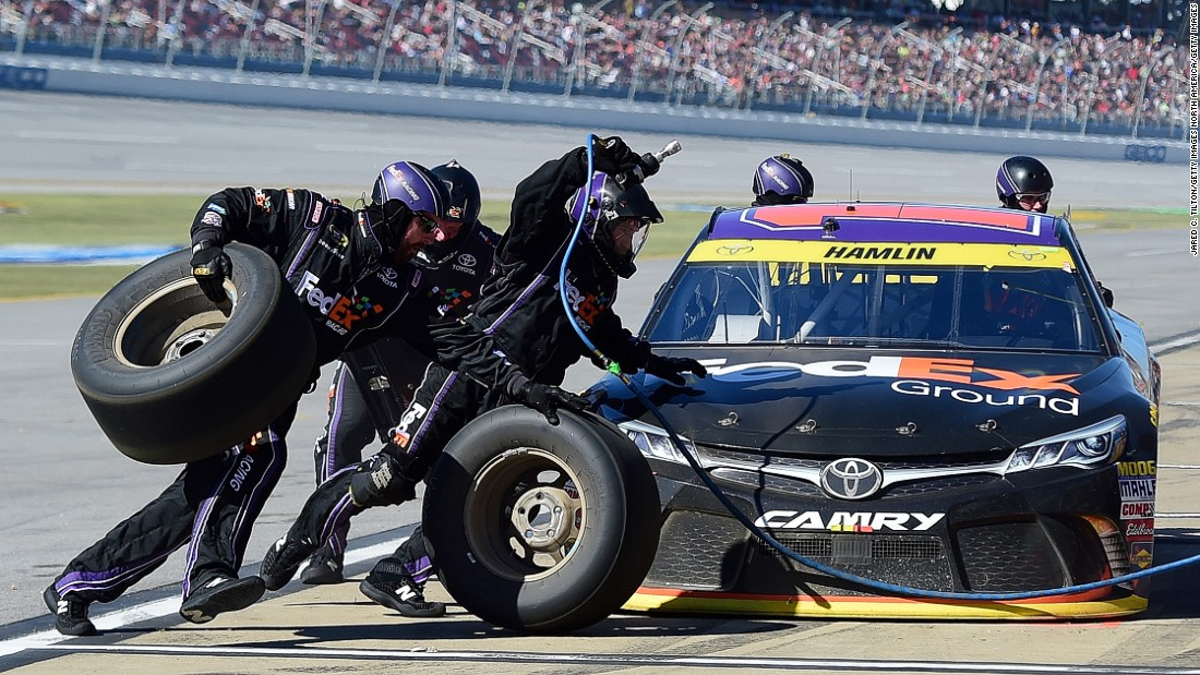 """We have some of the greatest athletes in the world that have come to NASCAR to work for pit crews,"" says Hamlin."