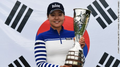 EVIAN-LES-BAINS, FRANCE - SEPTEMBER 18:  In Gee Chun of Korea holds the trophy after winning The Evian Championship on September 18, 2016 in Evian-les-Bains, France.  (Photo by Stuart Franklin/Getty Images)