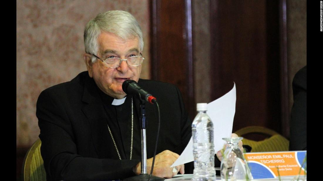 The Vatican's representative, Monsignor Emir Paul Tscherrig, speaks during a meeting in Caracas on October 24.