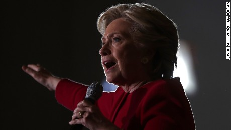 Democratic presidential nominee former Secretary of State Hillary Clinton speaks during a campaign rally at Broward College on October 25, 2016 in Coconut Creek, Florida. With two weeks to go until election day, Hillary Clinton is campaigning in Florida.