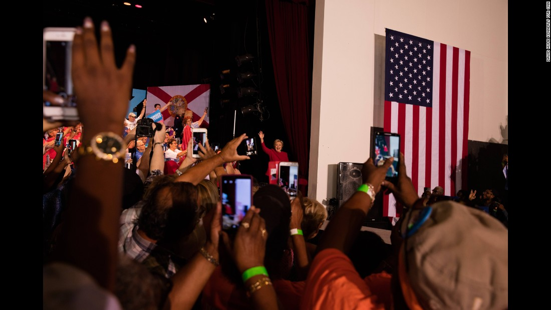 Clinton attends a rally in Coconut Creek, Florida, on October 25.