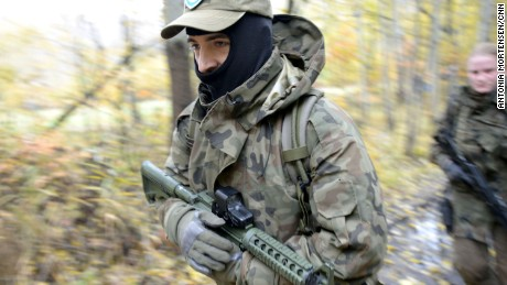 Poland's paramilitary defence force is growing exponentially because of tensions with Russia. More than 35,000 people have signed up and are currently in military training. They range from high school students to lawyers and doctors.