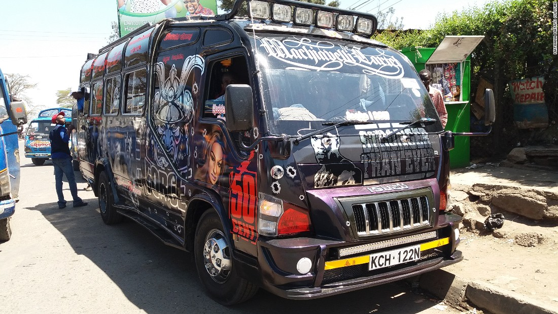 Private minibuses -- or matatus -- rule the streets of Nairobi, Kenya.<br />