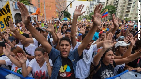 University students marched in the streets of Caracas Wednesday, protesting the government of Venezuelan President Nicolas Maduro.