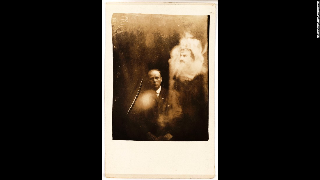 A man's face appears like an apparition over a clergyman's photo. These photos came from an album that was unearthed in a secondhand bookstore by a curator of England's National Media Museum.