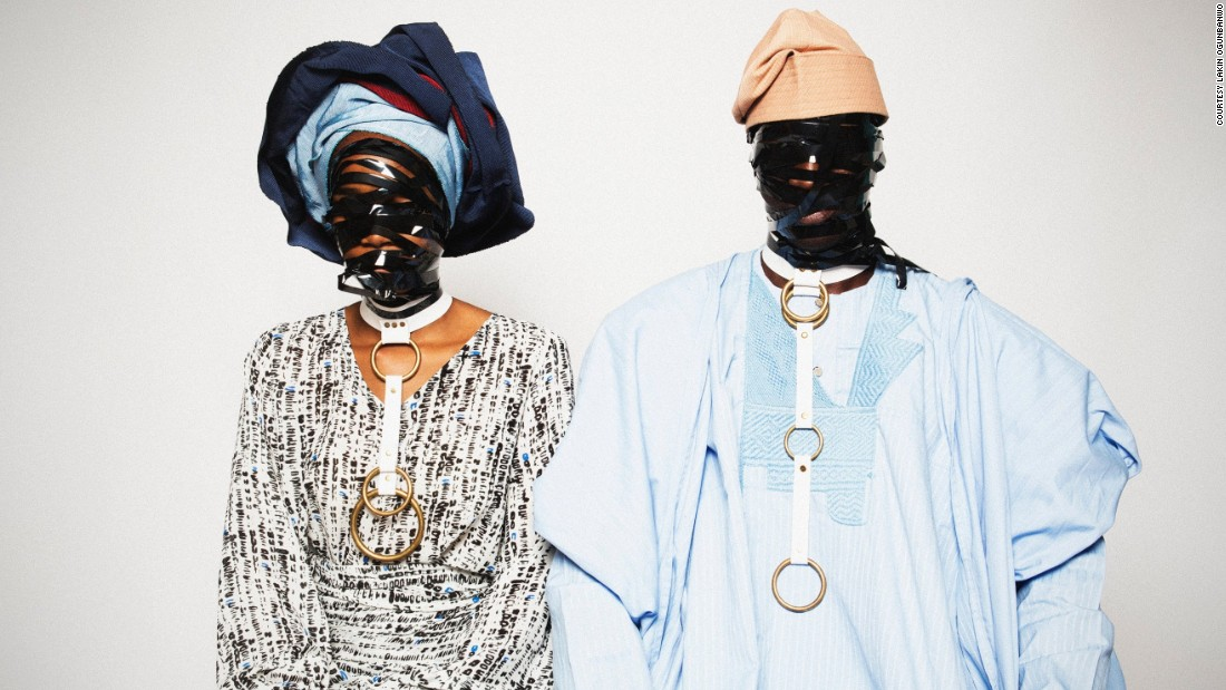 Photograph from a series titled, Are You Ok? Ogunbanwo's lens often focuses on West Africa's high-end fashion industry. His series on men's hats in Nigeria was featured in Vogue earlier this year. The images pictured here push the country's conventional views on taste and decency by photographing Nigerians dressed in traditional garments but combined with fetish wear.