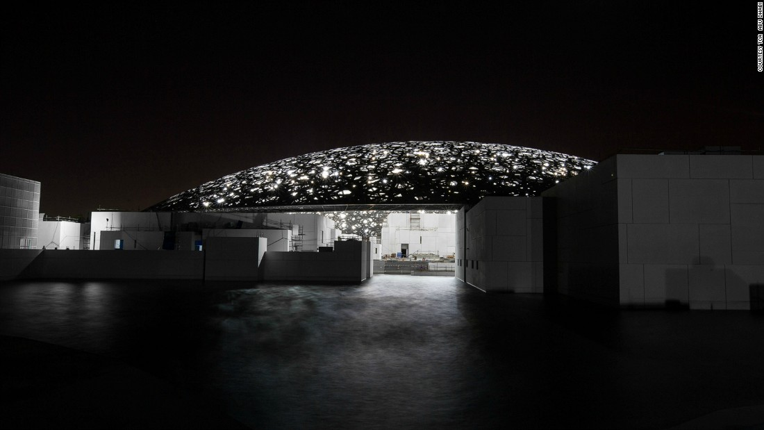 Located on Saadiyat Island, the Abu Dhabi Louvre, designed by French architect Jean Nouvel, extends out onto the water. Its massive white dome is a modern take on traditional Arabian architecture. Once completed it will be home to 23 permanent galleries and exhibition spaces.