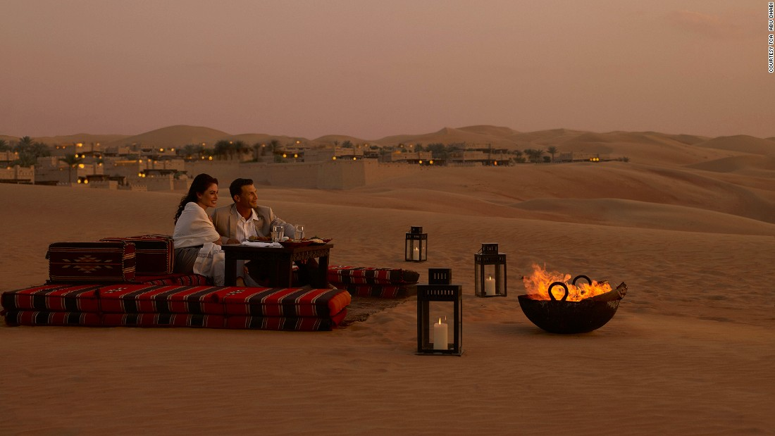"At the <a href=""http://qasralsarab.anantara.com/villa-bbq/"" target=""_blank"">Qasr al Sarab</a> resort, guests can book private dining or snuggle in front of an open fire as the sun sets over the dunes."