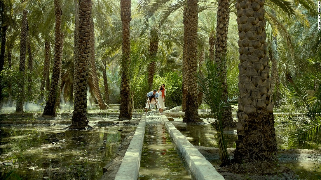 Visitors can cool off in the oasis in the center, next to the Al Ain National Museum, which is filled with date palm plantations, water features and shaded walkways.