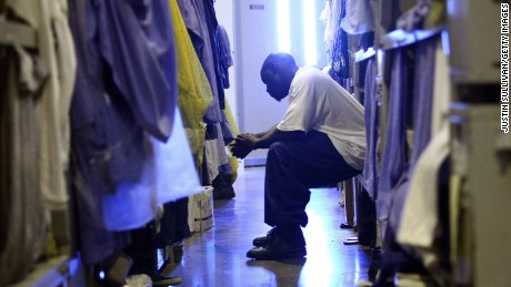 Inmates at Mule Creek State Prison, which was not affected by strikes, sleep in the gym because of overcrowding.