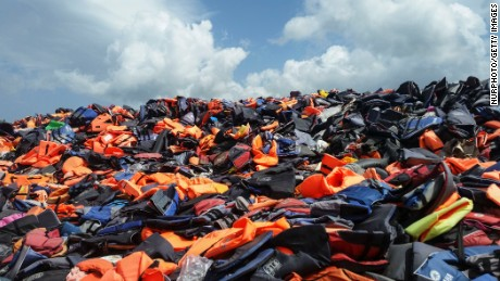 Cheap lifejackets piled up on the Greek island of Lesbos, one of the main destinations for boats from Turkey.