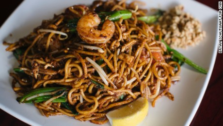 A fried noodle dish, mee goreng, is on the menu at Mamak Malaysian restaurant.
