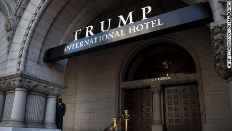 An exterior view of the entrance to the new Trump International Hotel at the old post office on October 26, 2016 in Washington, D.C.
