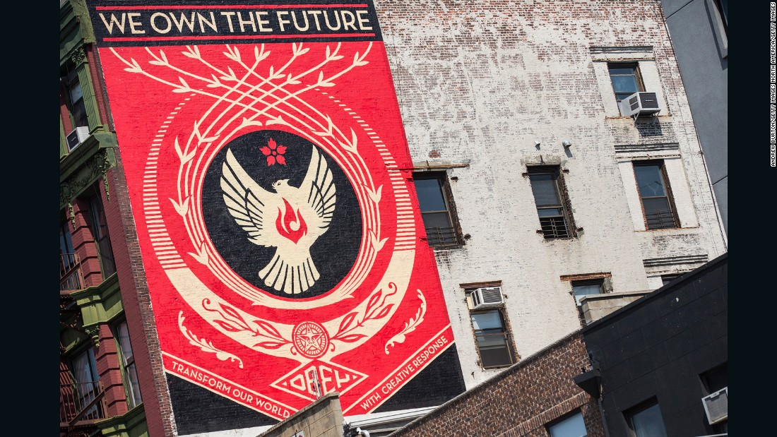 A mural in the Lower East Side neighborhood of New York by Shepard Fairey.