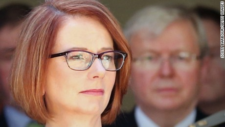 Former Australian Prime Minister Julia Gillard pictured with her predeccesor -- and replacement -- Kevin Rudd.