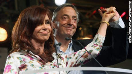 Former Argentine President Cristina Fernandez de Kirchner pictured with husband a political predecessor Nestor Kirchner.